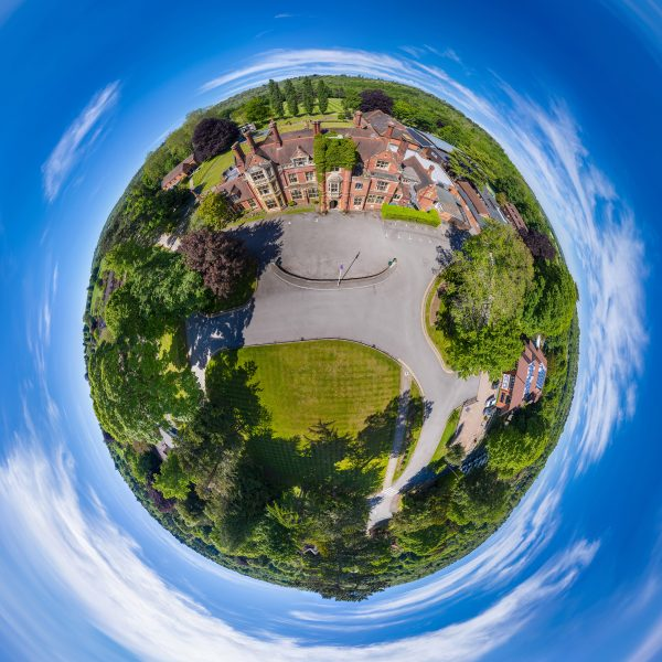 Box Hill School tiny planet drone photo